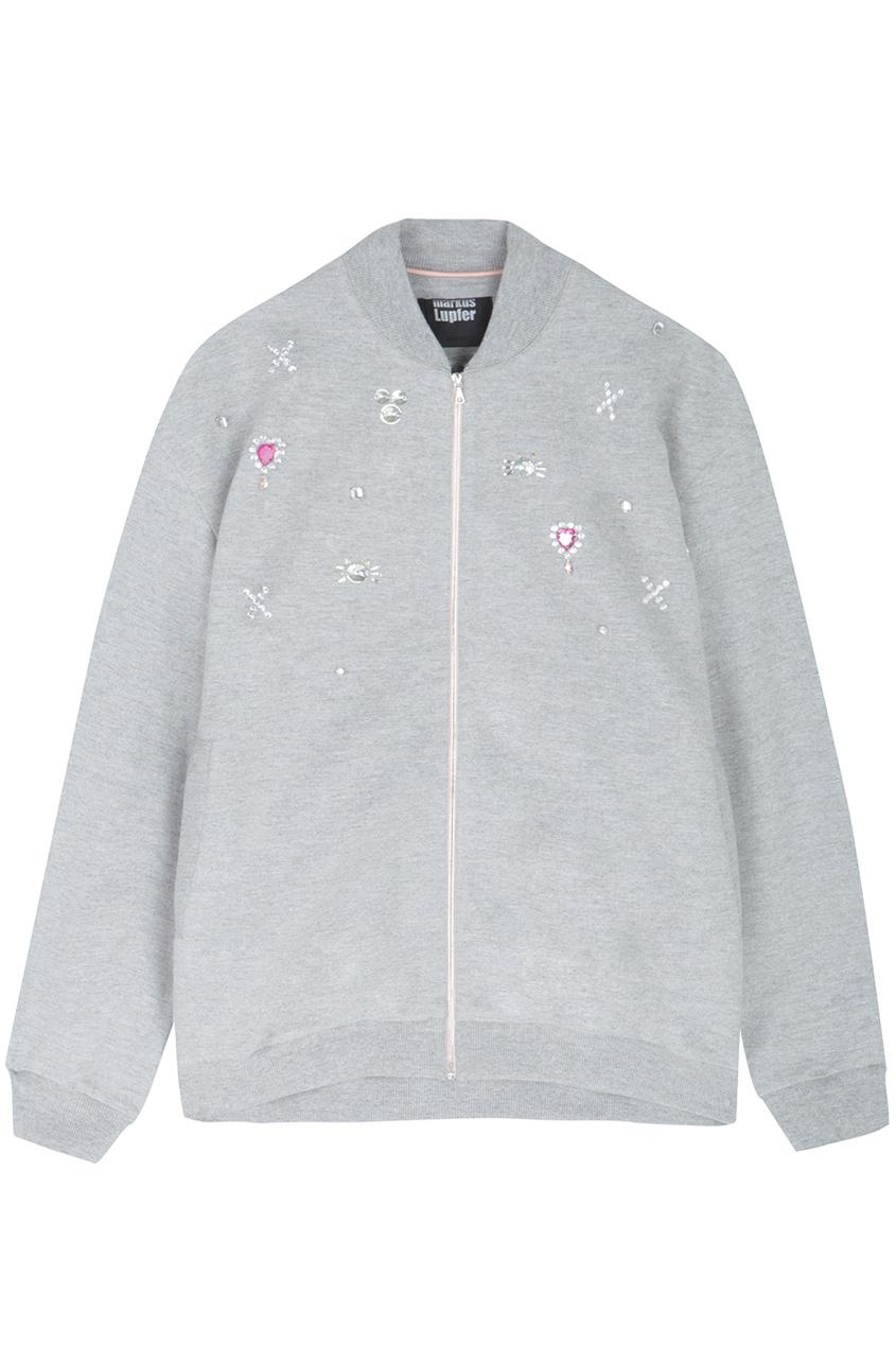 Хлопковый бомбер Markus Lupfer. Цвет: серый, прозрачный, розовый